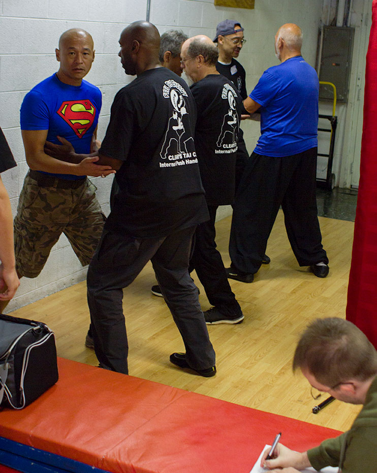 Students practice push hands at the 2015 Clear's Internal Push Hands Instructor Workshop